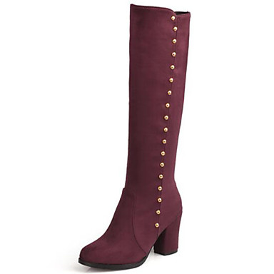 9852af8a2a4 Women s Shoes Suede Fall   Winter Fashion Boots Boots Chunky Heel Round Toe  Knee High Boots Rivet Black   Blue   Burgundy   Party   Evening 6856103  2019 – ...