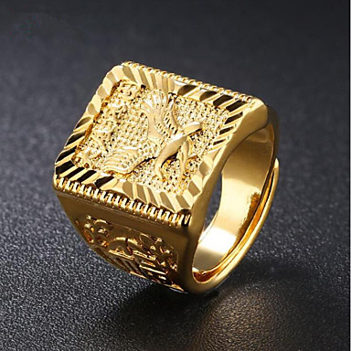 cheap Men's Rings-Men's Signet Ring Gold 18K Gold Plated Square Geometric Street chic Hip Hop Daily Evening Party Jewelry Stylish Engraved Eagle Punk