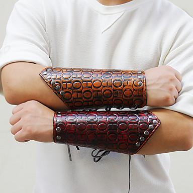 2877a58cf4e23 Men's Braided Leather Bracelet Wide Bangle Leather Letter Punk Rock ...