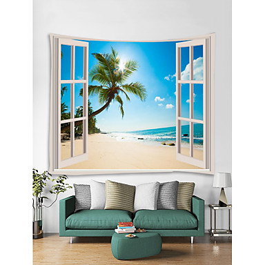 cheap Wall Tapestries-Window Landscape Wall Tapestry Art Decor Blanket Curtain Picnic Tablecloth Hanging Home Bedroom Living Room Dorm Decoration Polyester Sea Ocean Beach Palm