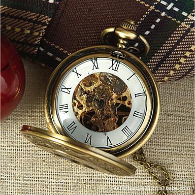 levne Dámské-Pro páry Hodinky s lebkou Kapesní hodinky Křemenný Stříbro S dutým gravírováním Hodinky na běžné nošení Analogové Luxus Na běžné nošení Czaszka - Zlatá