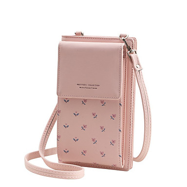cheap Bags-Women's Bags PU Leather Mobile Phone Bag Pattern / Print for Daily Black / Blue / Blushing Pink / Camel / Gray