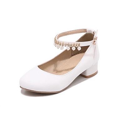 Girls Shoes Cowhide Spring Fall Flower Girl Shoes Heels Pearl For