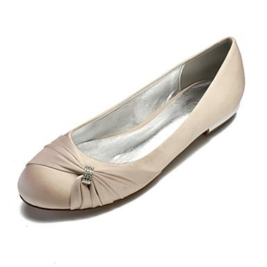 cheap Wedding Shoes-Women's Wedding Shoes Plus Size Flat Heel Round Toe Comfort Ballerina Wedding Party & Evening Rhinestone Side-Draped Solid Colored Satin White / Black / Purple