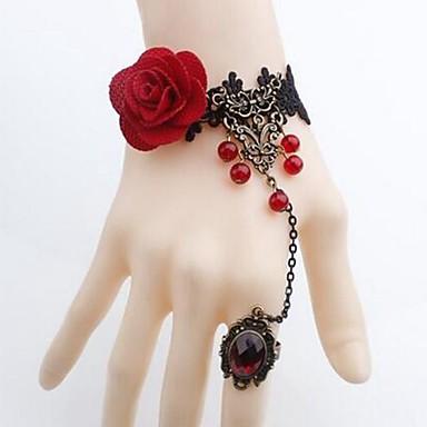 povoljno Modne narukvice-Žene Narukvice kolutovi Cvijet dame Jednostavan Klasik Čipka Narukvica Nakit Crn Za Dnevno Cosplay nošnje