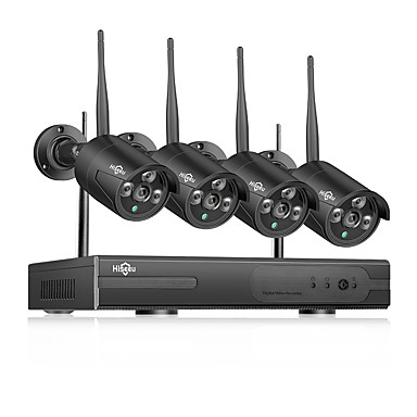 Недорогие Бытовая электроника-Hiseeu Wireless NVR 8-канальная система видеонаблюдения 1080p крытый открытый домашняя система безопасности камеры с 4шт 960p Wi-Fi камеры ip66