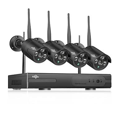 voordelige Bewaking & Beveiliging-hiseeu wireless nvr 8ch cctv systeem 1080p indoor outdoor home bewakingscamera met 4 stks 960 p wifi camera's ip66 waterdicht, mobiel & pc remote nachtzicht survilliance systeem 1 TB 3 TB harde schijf