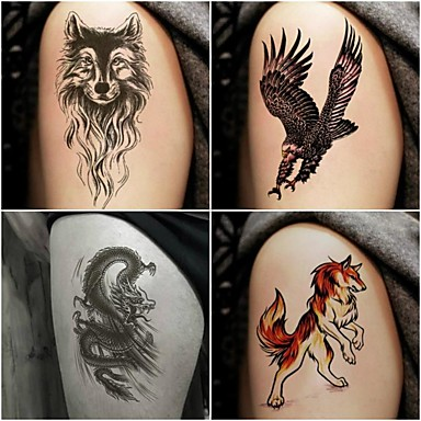 1299 10 Pcs Tatuagens Temporárias Séries Totem Séries Animal Adesivo Liso Segurança Arte Para O Corpo Braço Tatuagens Temporárias Estilo