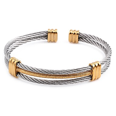 levne Pánské šperky-Pánské Široké náramky Vícevrstvé Dvoubarevné kreativita Jednoduchý Titanová ocel Náramek šperky Černá / Stříbrná Pro Denní