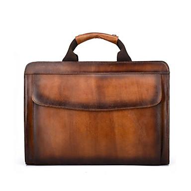 preiswerte Taschen-Herrn Reißverschluss Rindsleder Aktentasche Braun