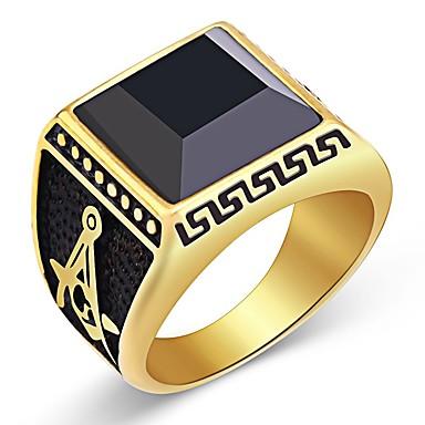 voordelige Herensieraden-Heren Ring Zegelring Obsidiaan 1pc Goud Roestvrij staal Kubusvormig Vintage Dagelijks Sieraden Vintagestijl vrijmetselaar