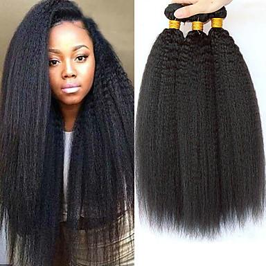 povoljno Ekstenzije za kosu-3 paketa Peruanska kosa Yaki Straight Ljudska kosa Netretirana  ljudske kose Ljudske kose plete Styling kose Bundle kose 8-28 inch Prirodna boja Isprepliće ljudske kose Smooth Novi Dolazak Rasprodaja