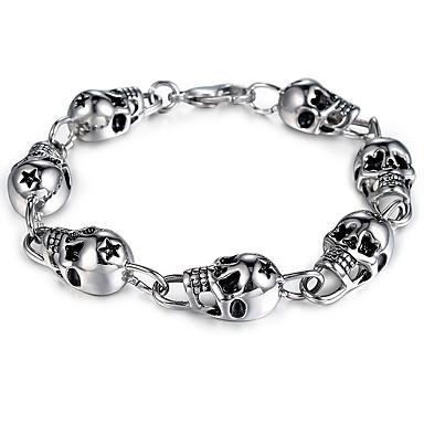 voordelige Herensieraden-Heren Vintage Armbanden Vintagestijl Stijlvol Schedel Ster Stijlvol Vintage Punk Titanium Staal Armband sieraden Zilver Voor Halloween Straat