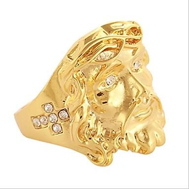 levne Pánské šperky-Pánské Band Ring 1ks Zlatá Pozlaceno 18k Pozlacené Slitina Geometric Shape Čtvercový Jedinečný design Vintage egyptský Denní Práce Šperky Retro styl 3D Haç kreativita Cool