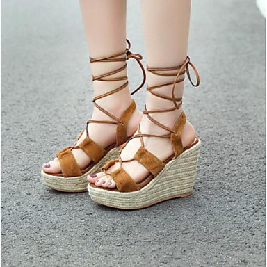 0072e1557 Women s Wedge Sandals Suede Summer Sandals Wedge Heel Black   Brown 6939165  2019 –  44.99