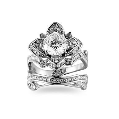 billige Motering-Dame Ring Belle Ring Kubisk Zirkonium 1pc Hvit Grønn Kobber Strass damer Stilfull Klassisk Daglig Smykker Klassisk Pave Blomst