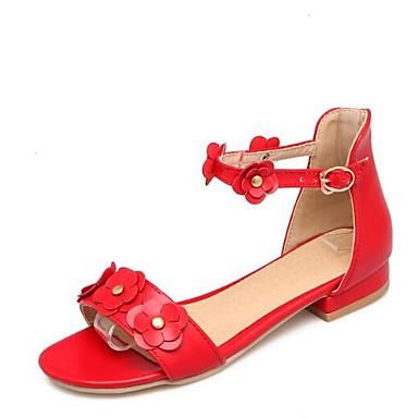 8758527639 Mulheres Sapatos Confortáveis Couro Ecológico Verão Sandálias Salto Baixo  Branco   Vermelho   Rosa claro de 6911840 2019 por  22.99