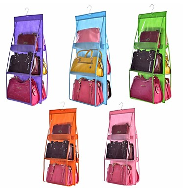 cheap Storage & Organization-Double Side Transparent 6 Pocket Foldable Hanging Handbag Purse Storage Bag Sundry Tidy Organizer Wardrobe Closet Hanger