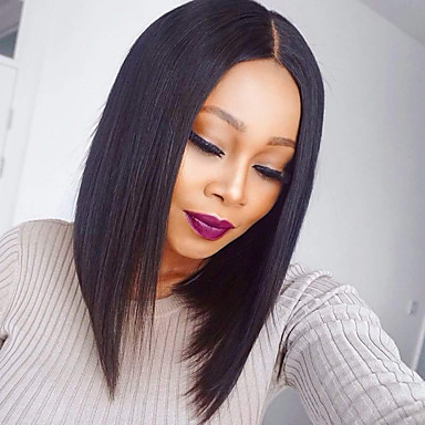 Human Hair Lace Front Wig Bob Middle Part Brazilian Hair Burmese Hair  Straight Wig 130% Density with Baby Hair Women Best Quality Hot Sale  Comfortable ... 0478b051d2