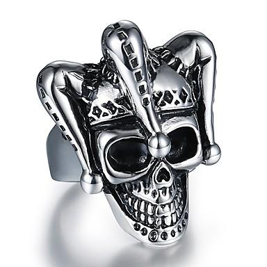 levne Dámské šperky-Pánské Prsten 1ks Stříbrná Titanová ocel Nerezové Kulatý nepravidelný stylové Vintage Hip-hop Street Klub Šperky Retro styl Stylové Mexická Cukr Lebka Klaun Lebka Cool