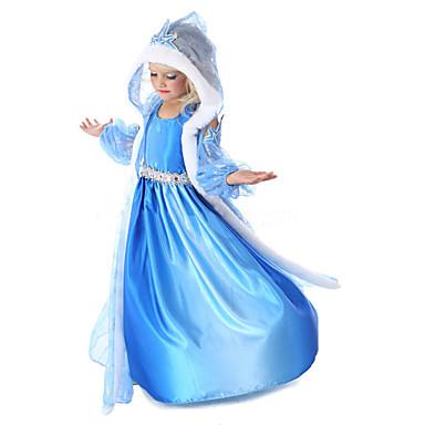 preiswerte Halloween Angebote-Kinder Baby Mädchen Aktiv Süß Party Festtage Solide Halloween Ärmellos Midi Kleid Blau