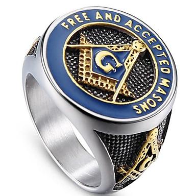 levne Pánské šperky-Pánské Midi Ring Pečetní prsten Zednářské kroužky 1ks Stříbrná Titanová ocel Circle Shape Vintage Armáda Párty Denní Šperky Retro Prsteny na střední škole svobodný zednář Třída Cool