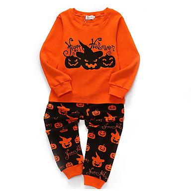 cheap Boys' Clothing Sets-Kids Boys' Basic Polka Dot Solid Colored Halloween Long Sleeve Clothing Set Orange