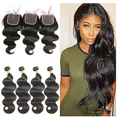 povoljno Ekstenzije od ljudske kose-4 paketi s zatvaranjem Brazilska kosa Tijelo Wave Remy kosa Ekstenzije od ljudske kose Kosa potke zatvaranje 8-26 inch Natural Isprepliće ljudske kose Nježno Najbolja kvaliteta Novi Dolazak / 10A