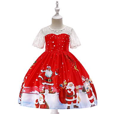 preiswerte Kleider für Mädchen-Kinder Baby Mädchen Retro Aktiv Weihnachten Party Festtage Cartoon Design Weihnachten Kurzarm Knielang Kleid Rote