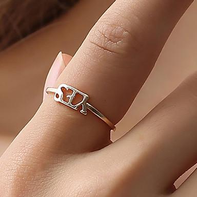 billige Motering-Dame Ring Justerbar ring 1pc Gull Svart Sølv Plast Sirkelformet damer Enkel Koreansk Fest Daglig Smykker Kreativ Bokstaver Søtt