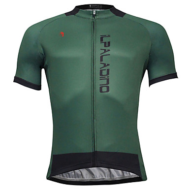 ILPALADINO Men s Short Sleeve Cycling Jersey - Dark Green Solid Color Bike  Jersey Top Quick Dry Sports Polyester Coolmax® Eco-friendly Polyester  Mountain ... e799f252d