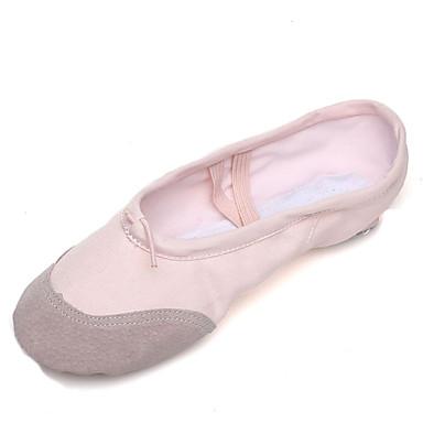 preiswerte Shoes Trends-Damen Tanzschuhe Leinwand / Schweineleder Balletschuhe Farbaufsatz Flach, Ballerina Flacher Absatz Maßfertigung Rosa / Praxis