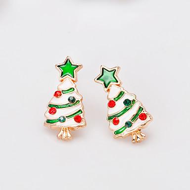 povoljno Modne naušnice-Žene Sitne naušnice 3D dragocjen Božićno drvce Moda Pozlaćeni Naušnice Jewelry Duga Za Božić Party Dar Festival 1 par