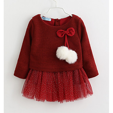 cheap Clearance-Baby Girls' Basic Solid Colored Christmas Long Sleeve Dress Wine / Toddler