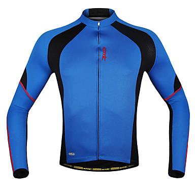 SANTIC Men s Long Sleeve Cycling Jersey - Blue Patchwork Bike Jacket Jersey  Top d7a015fa9