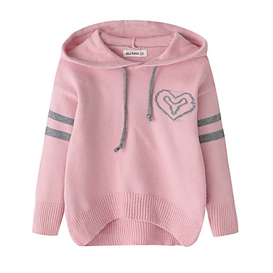 cheap Girls' Sweaters & Cardigans-Kids Girls' Vintage Active School Going out Print Print Long Sleeve Regular Cashmere Cotton Sweater & Cardigan Red