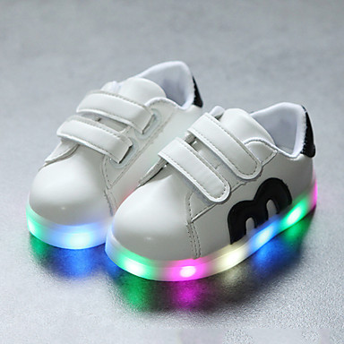 voordelige Babyschoenentjes-Jongens / Meisjes Comfortabel / Oplichtende schoenen PU Sneakers Haak & Lus / LED Zwart / Rood / Blauw Lente & Herfst