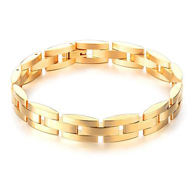 levne Pánské šperky-Pánské Řetězové & Ploché Náramky Box řetěz stylové Jedinečný design Moderní Dubaj Pozlaceno 18k Náramek šperky Zlatá / Černá Pro Denní Street / Titanová ocel / Pokovená platina / Nerezové