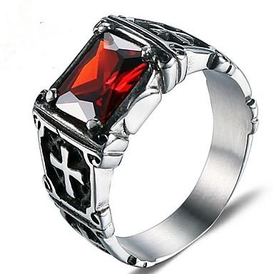 levne Pánské šperky-Pánské Midi Ring Rubínová 1ks Stříbrná Titanová ocel Circle Shape Módní Armáda Dar Denní Šperky Klasika Cool