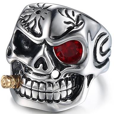levne Pánské šperky-Pánské Midi Ring Rubínová 1ks Stříbrná Červená Titanová ocel Geometric Shape Vintage Denní Narozeniny Šperky Retro styl Mexická Cukr Lebka Lebka Cool