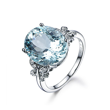 [$15 74] Women's Synthetic Aquamarine Stack Oval Cut Simulated Ring 18K  Gold Plated Aquarius Cocktail Ring Ladies Romantic Birthstones Ring Jewelry