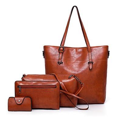 7f6e7277 Dam Väskor Läder bag set 4 st handväska Dragkedja Rubinrött ...