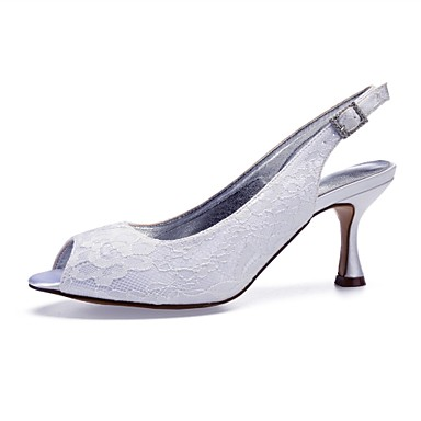 Women s Comfort Shoes Lace   Satin Spring   Summer Wedding Shoes Flared  Heel Peep Toe Sparkling Glitter Silver   Champagne   Ivory   Party    Evening 6933461 ... e09d4831ad92