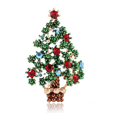 Žene Broševi Izrezati Klasičan Božićno drvce dame Jednostavan Klasik Umjetno drago kamenje Broš Jewelry Zelen Za Božić
