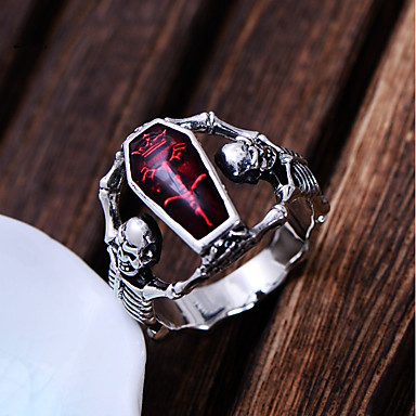 levne Dámské šperky-Pánské Vyzvánění 1ks Červená Měď Postříbřené Prohlášení Punk Karneval Profesionální Šperky Retro Mexická Cukr Lebka lebka Skeleton