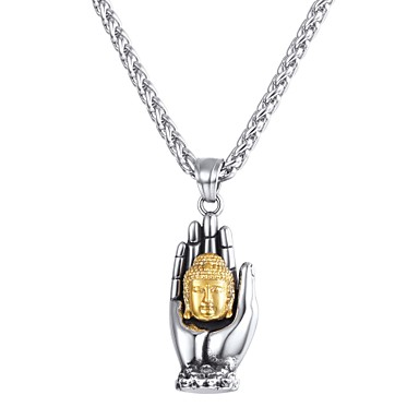 levne Dámské šperky-Pánské Náhrdelníky s přívěšky Klasika franko řetěz ruce Buddha Klasické Vintage Nerez Stříbrná 55 cm Náhrdelníky Šperky 1ks Pro Dar Denní