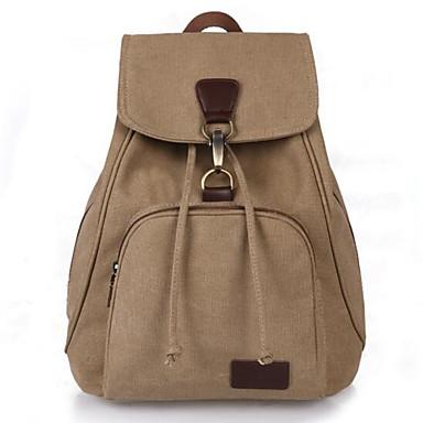 cheap Bags-School Bag Women's Canvas Solid Daily / Outdoor Black / Blue / Khaki / Coffee