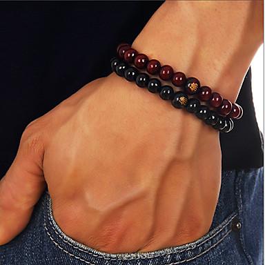 voordelige Herensieraden-Heren Kralenarmband kralen Boeddha chakra Goedkoop Eenvoudig Casual / Sporty Equilibrio Puinen Armband sieraden Zwart / Rood Voor Dagelijks Straat Uitgaan