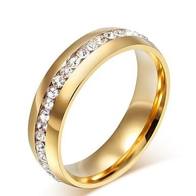 billige Båndringe-Dame Band Ring Ring Kubisk Zirkonium 1pc Gull Rustfritt Stål Titanium Stål damer Luksus Bryllup Gave Smykker Elegant