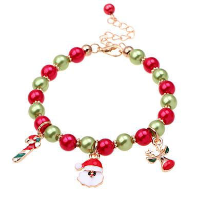 levne Dámské šperky-Dámské Korálkový náramek Náramek s přívěškem Boncuklar Vánoční santa obleky Jelen dámy Klasické Módní Napodobenina perel Náramek šperky Červená Pro Vánoce Dar